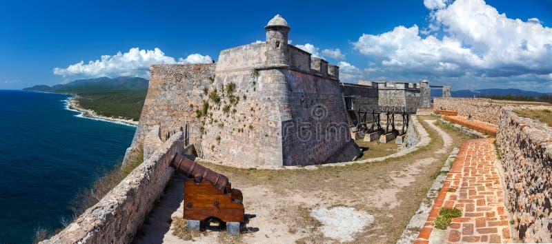 Castillo Del Morro Fort auf karibischer Küste Eingang zu Bucht Santiage Des schützend Kuba stockfotografie