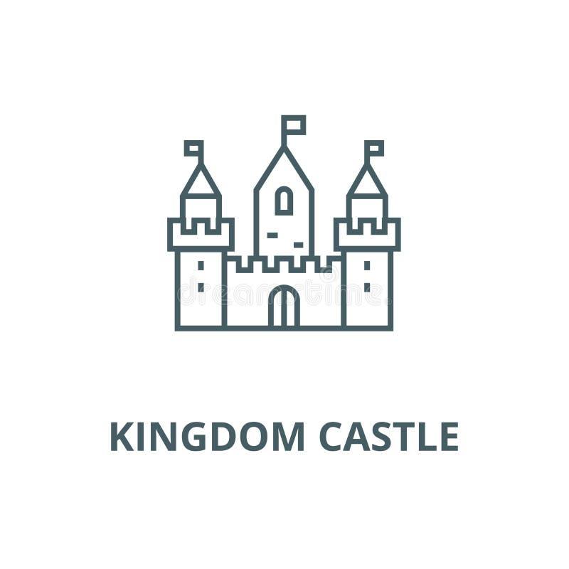 Castillo del reino con la línea icono, concepto linear, muestra del esquema, símbolo del vector de tres torres libre illustration