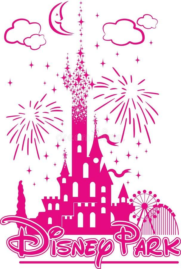 Castillo del ` s de Disney en medio de la diversión y de fuegos artificiales stock de ilustración