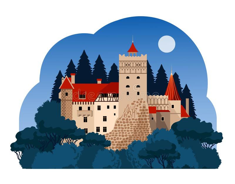 Castillo del salvado en la noche stock de ilustración