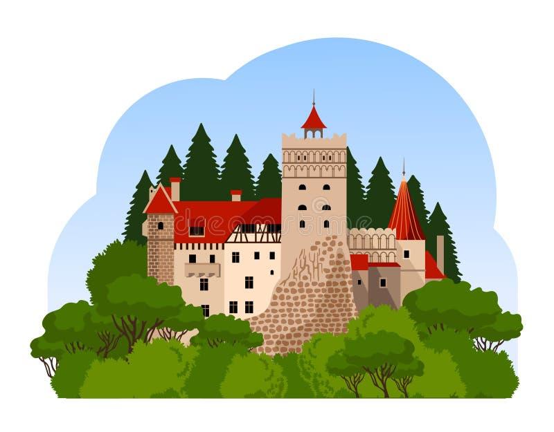 Castillo del salvado Viaje a Transilvania ilustración del vector