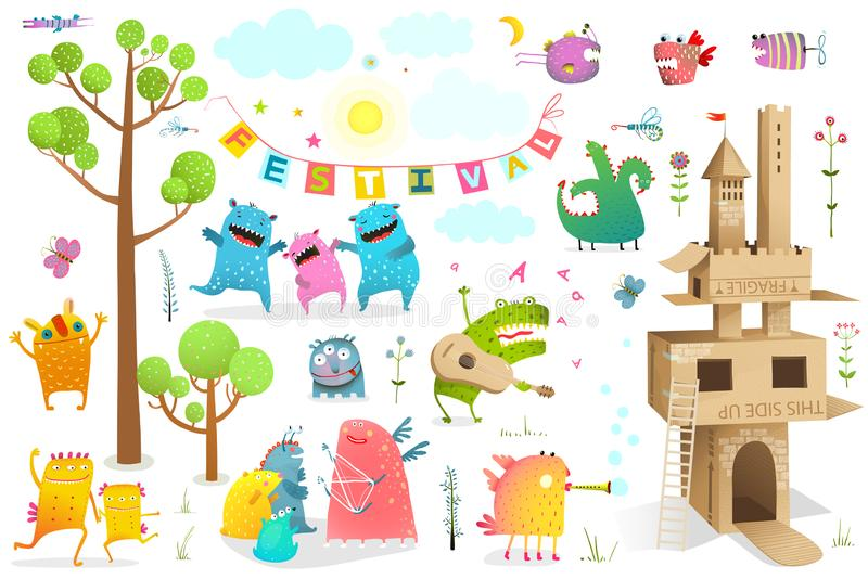 Castillo del verano de los caracteres del juego del festival de los niños libre illustration