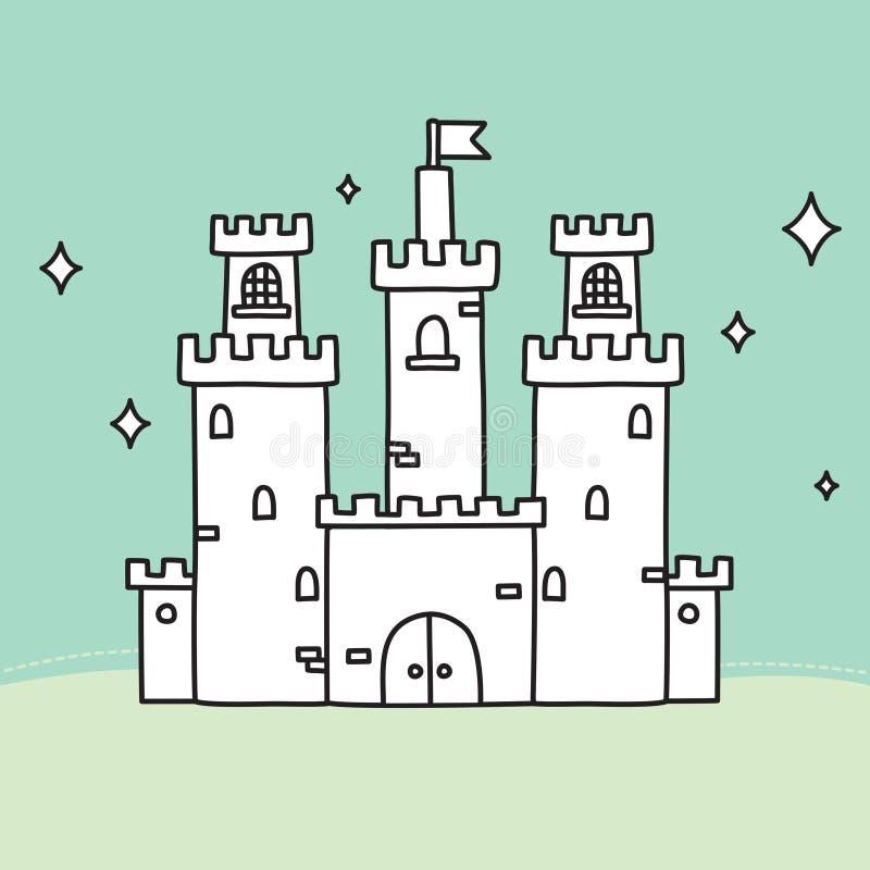 Castillo dibujado mano del medio del vector del garabato stock de ilustración
