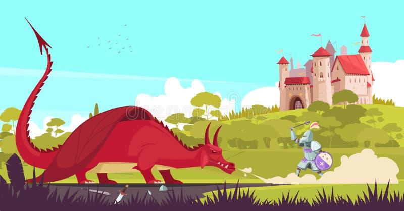Castillo Dragon Knight Illustration ilustración del vector