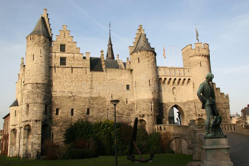Castillo en Amberes, Bélgica imagen de archivo
