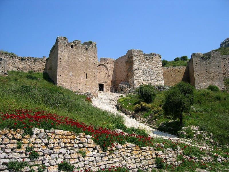 Castillo en Corinth en Grecia imagen de archivo