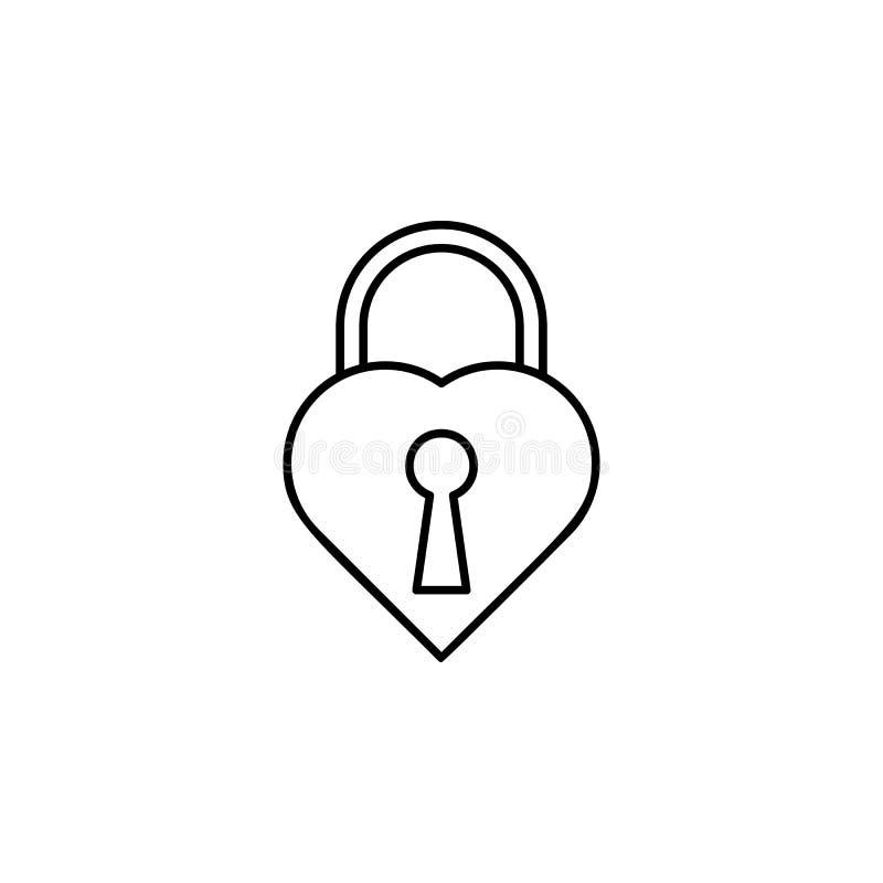 castillo en la forma de un icono del corazón Elemento de la boda para el ejemplo móvil de los apps del concepto y del web Línea f ilustración del vector
