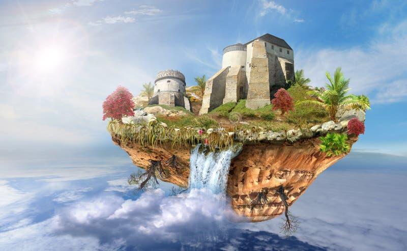 Castillo en la isla del vuelo en cielo ilustración del vector