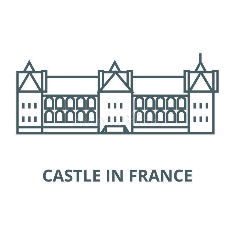Castillo en la línea icono, vector de Francia Castillo en la muestra del esquema de Francia, símbolo del concepto, ejemplo plan libre illustration