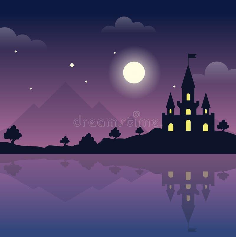 Castillo en las colinas en la noche Noche mágica reflexión ilustración del vector