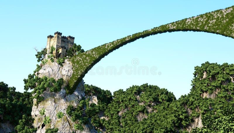 Castillo fantsay viejo en un alto acantilado, roca Silueta del hombre de negocios Cowering Paisaje fabuloso fotografía de archivo