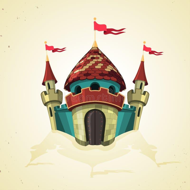 Castillo fortificado historieta con las banderas. Icono. libre illustration