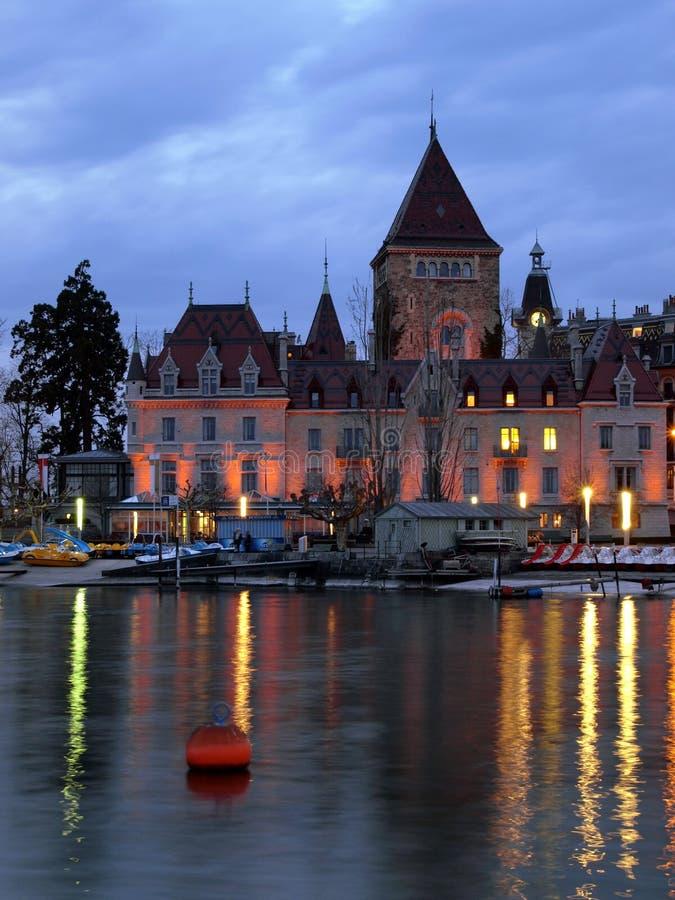 Castillo francés d'Ouchy, Lausanne, Suiza imagenes de archivo