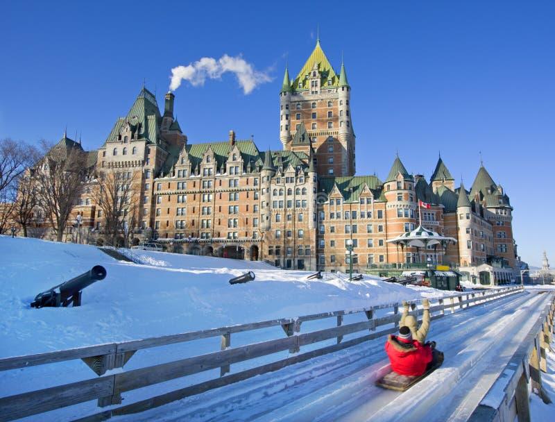 Castillo francés Frontenac en el invierno, la ciudad de Quebec, Canadá fotografía de archivo
