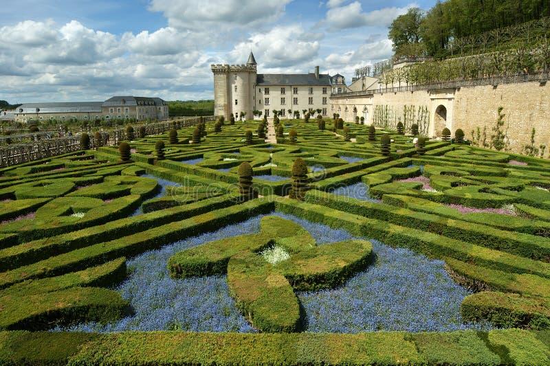 Castillo francés y su jardín, Francia de Villandry fotografía de archivo