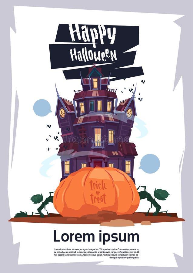 Castillo gótico del feliz Halloween con los fantasmas y concepto de la tarjeta de felicitación del día de fiesta de la calabaza ilustración del vector