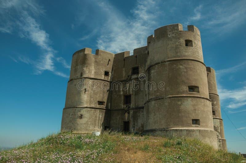 Castillo hecho en el estilo de Manueline en Evoramonte fotos de archivo