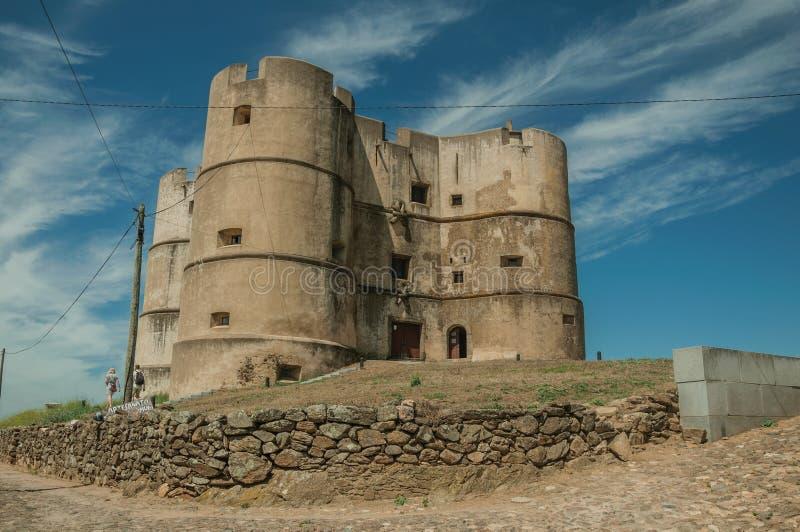 Castillo hecho en el estilo de Manueline en Evoramonte imágenes de archivo libres de regalías