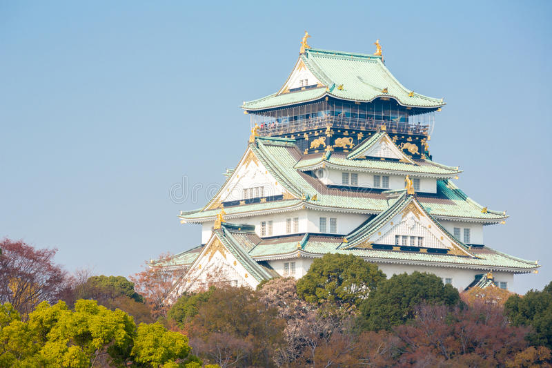 Castillo Japón de Osaka imagenes de archivo