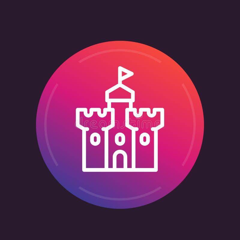 Castillo, línea medieval icono de la fortaleza stock de ilustración
