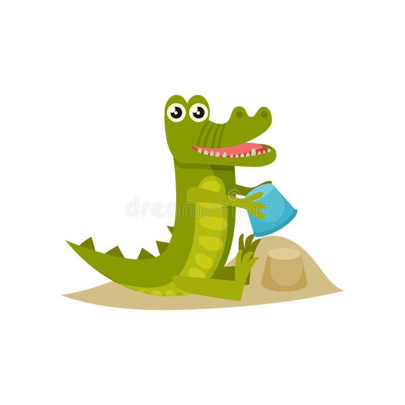 Castillo lindo de la arena del edificio del cocodrilo del bebé en la playa Animal humanizado divertido Icono plano del vector libre illustration