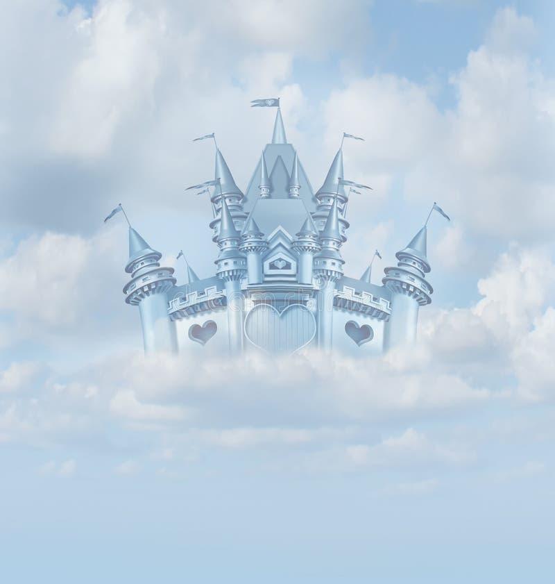 Castillo mágico del cuento de hadas stock de ilustración