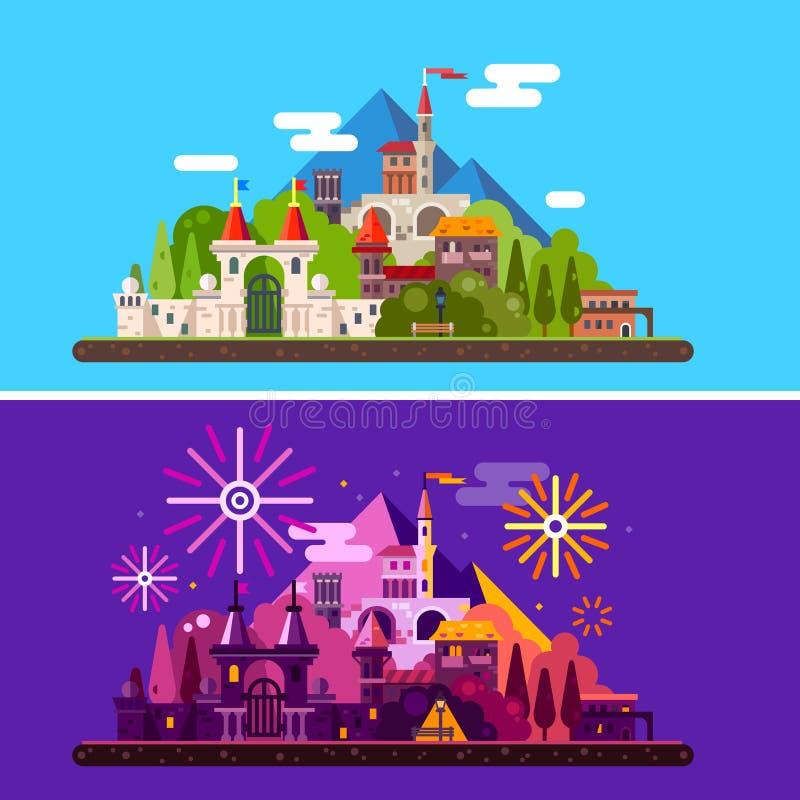 Castillo medieval antiguo en montañas stock de ilustración