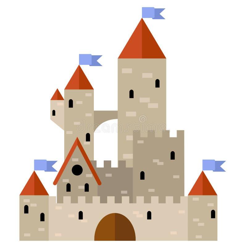 Castillo medieval con las torres y las banderas ilustración del vector