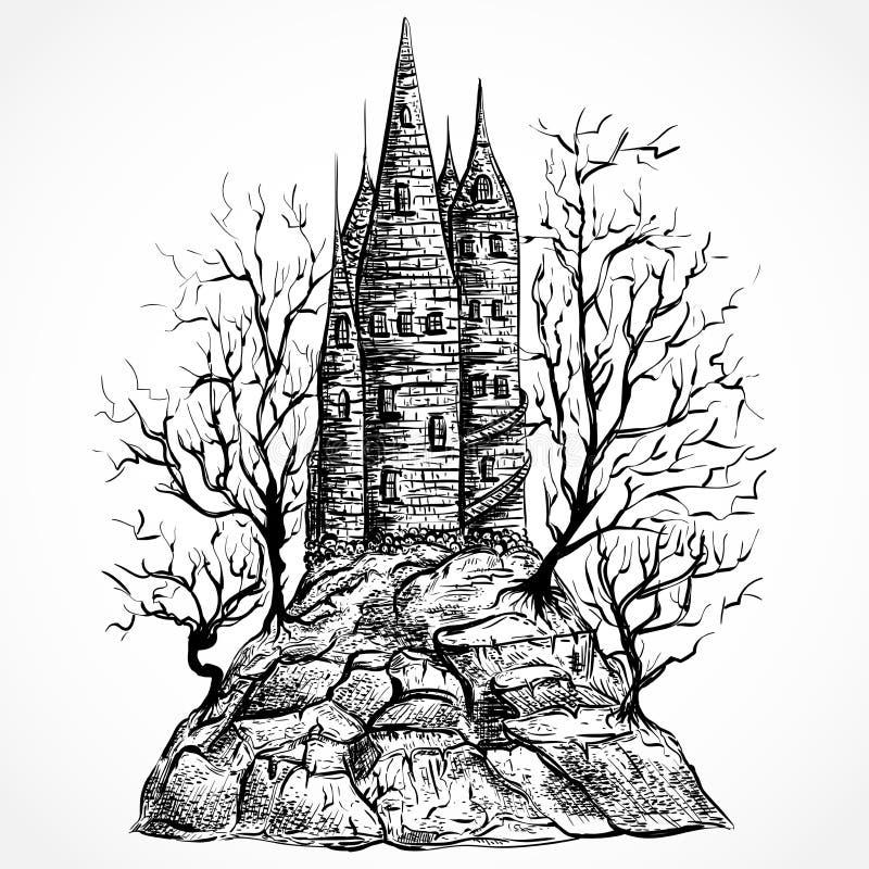Castillo medieval con los árboles en una roca ilustración del vector