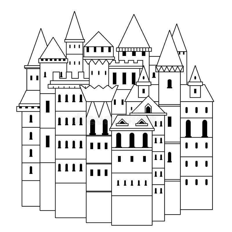 Castillo medieval de hadas Ejemplo dibujado mano blanco y negro del vector del vintage libre illustration