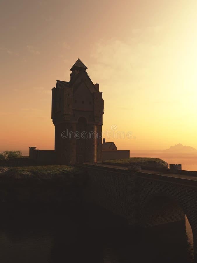 Castillo medieval de la casa de la torre en la puesta del sol stock de ilustración