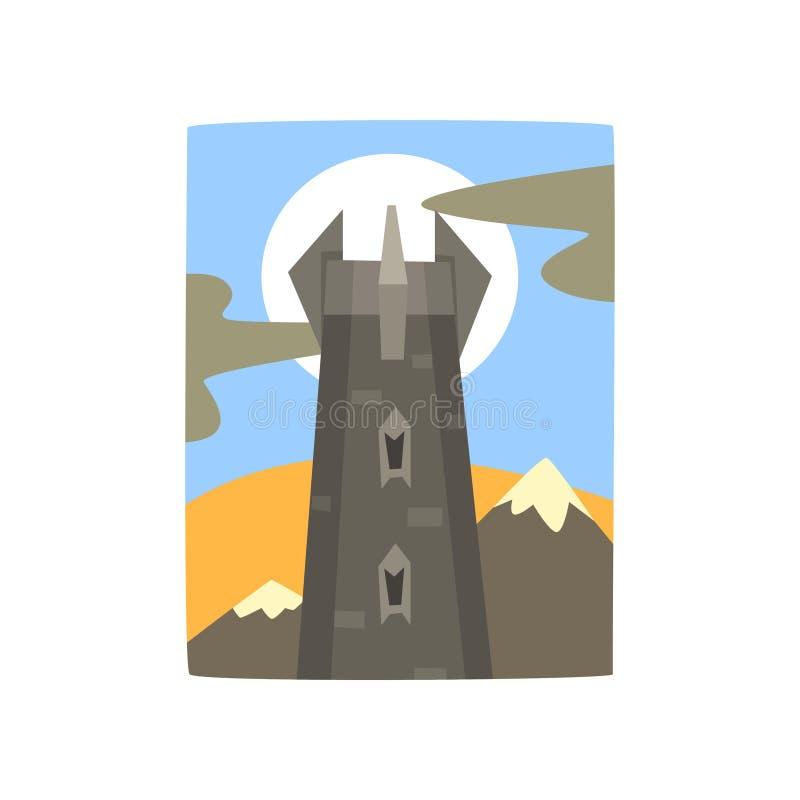 Castillo medieval de la fantasía en paisaje de las montañas Torre del reino oscuro Luna Llena detrás de la fortaleza Diseño plano ilustración del vector