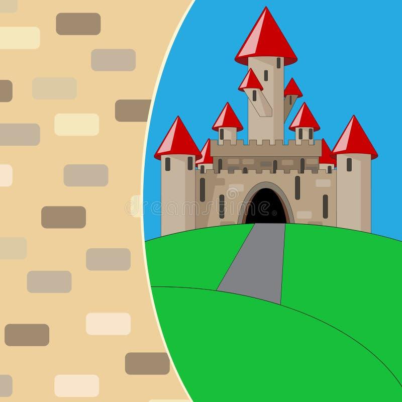 Castillo medieval de la historieta stock de ilustración