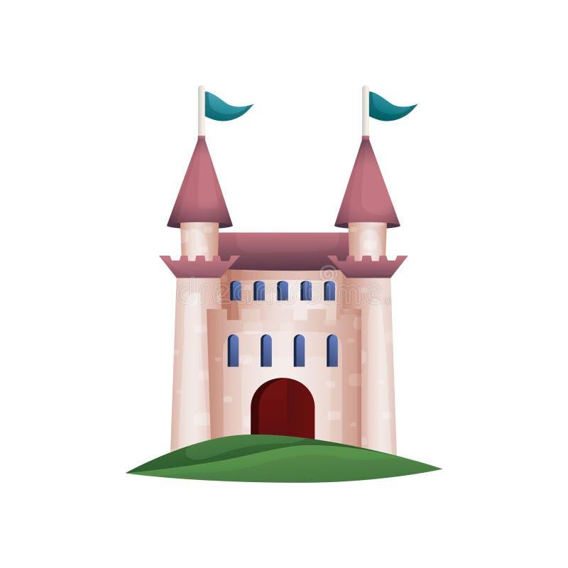 Castillo medieval de la torre del caballero con la puerta de madera grande stock de ilustración