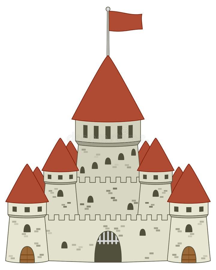 Castillo medieval del cuento de hadas ilustración del vector