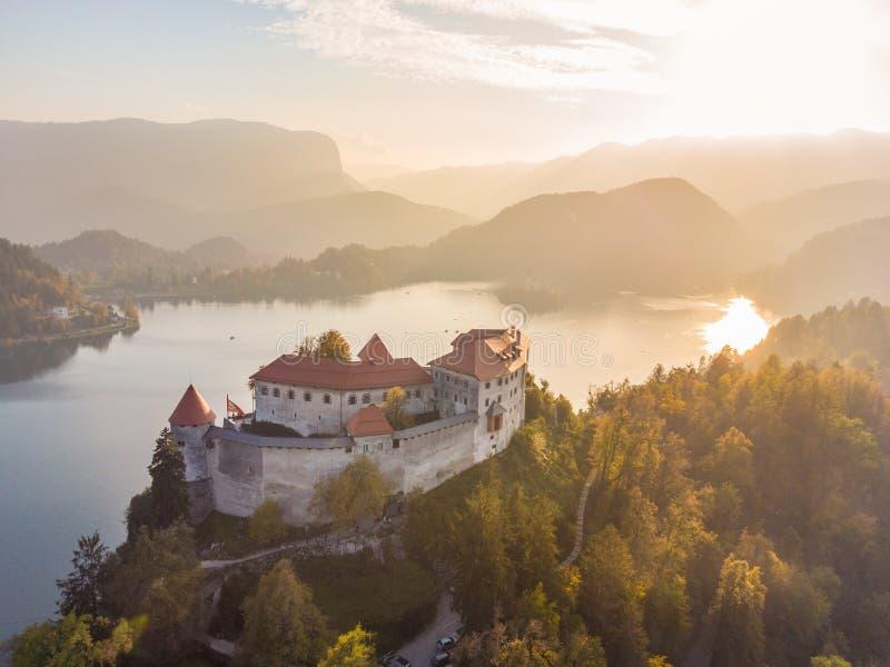Castillo medieval en el lago Bled en Eslovenia en otoño fotos de archivo