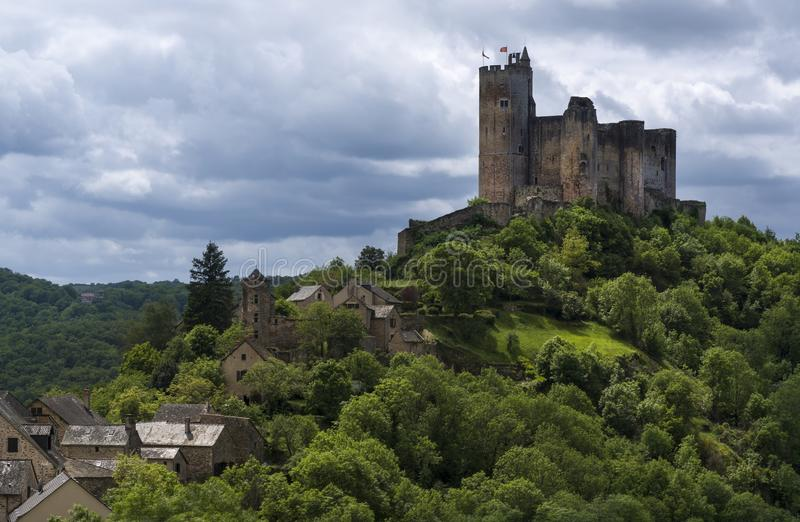 Castillo medieval en Najac foto de archivo libre de regalías