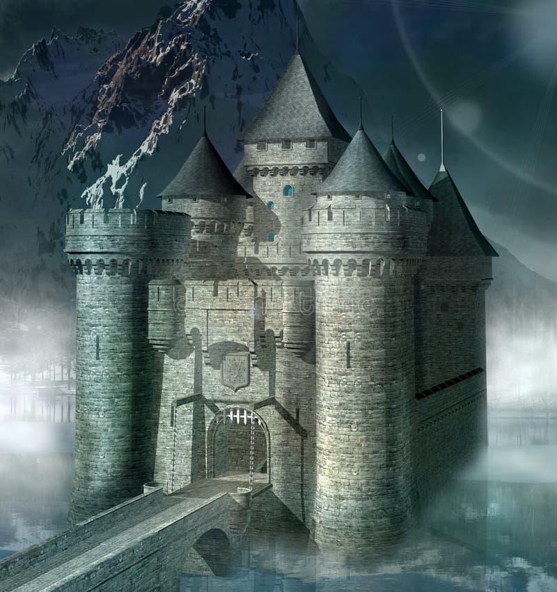 Castillo medieval en un paisaje de la niebla libre illustration