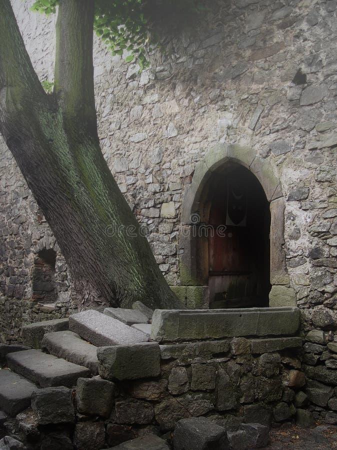 Castillo medieval viejo en una niebla imagen de archivo