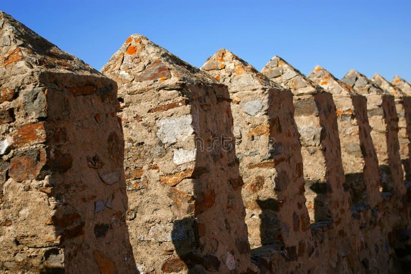 Castillo Merlons imagen de archivo