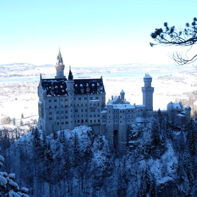 Castillo Nevado Neuschwanstein durante invierno fotografía de archivo