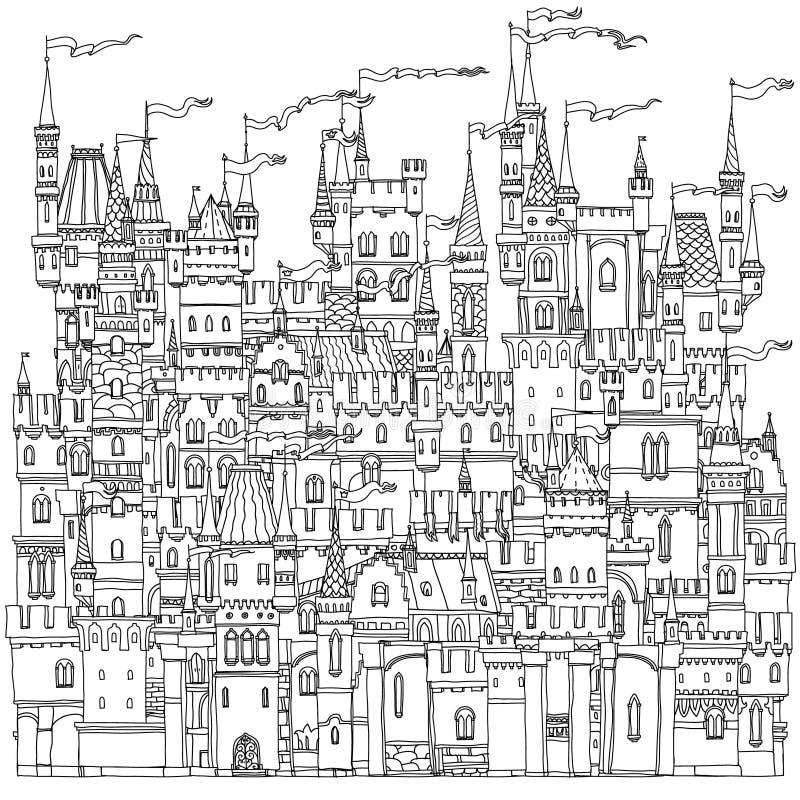 Castillo ornamental de un cuento de hadas ilustración del vector