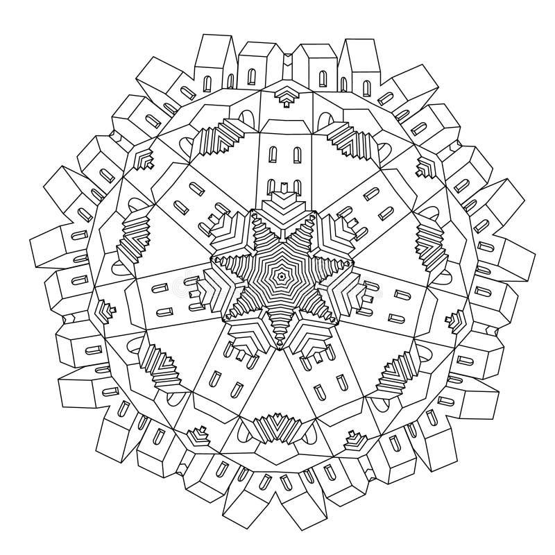 Castillo ornamental de un cuento de hadas stock de ilustración