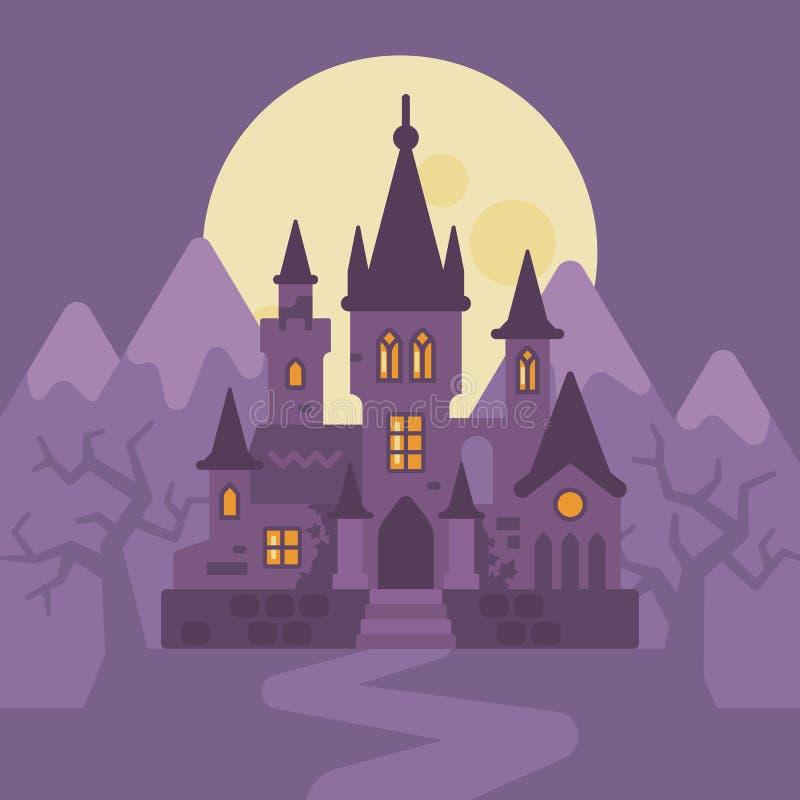 Castillo oscuro del vampiro en las montañas Ilustración de Víspera de Todos los Santos ilustración del vector