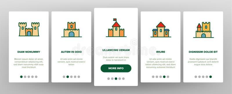 Castillo, pantalla móvil de la página del App de Onboarding del vector medieval de los edificios stock de ilustración