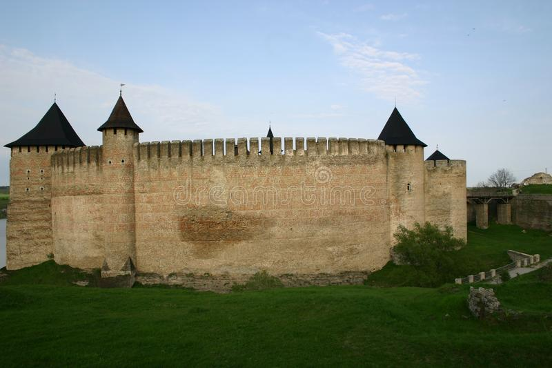 Castillo poderoso de Chocim/de Khotyn, Ucrania fotos de archivo libres de regalías