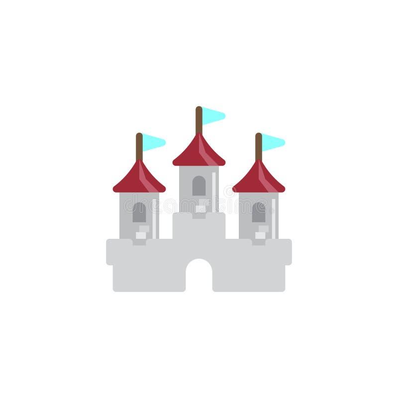 Castillo que construye el icono plano stock de ilustración