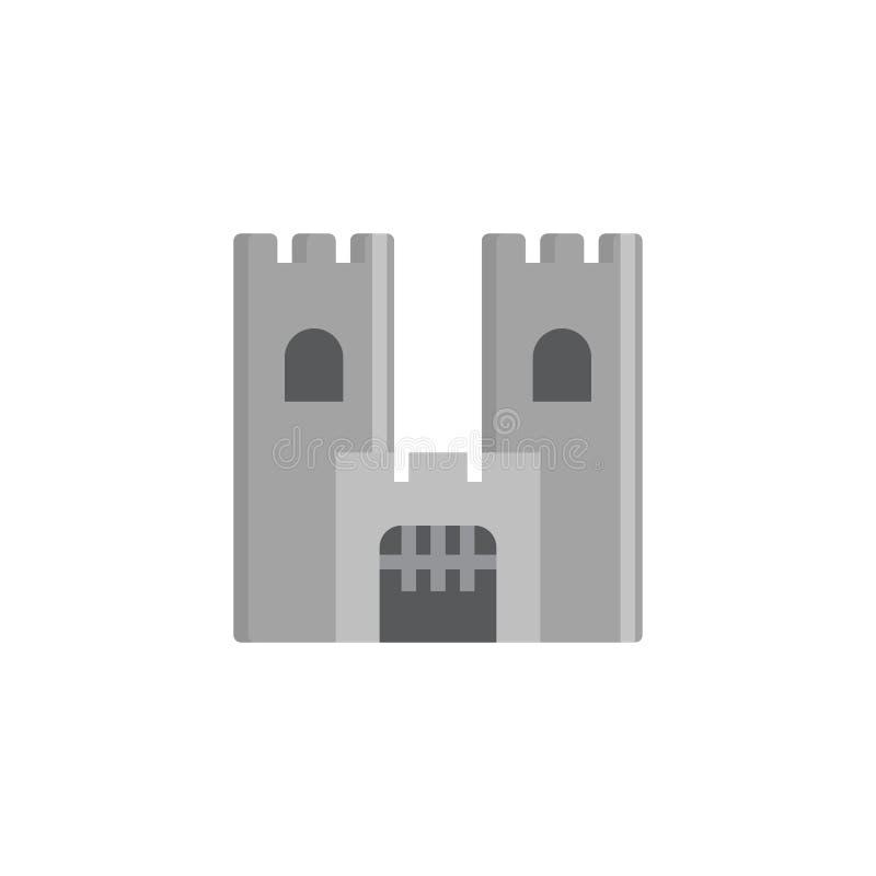 Castillo que construye el icono plano libre illustration