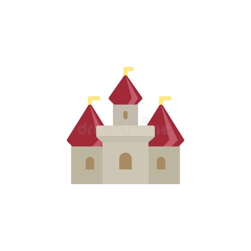 Castillo que construye el icono plano ilustración del vector