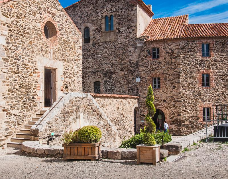 Castillo real Collioure en los Pirineos-Orientales, Francia foto de archivo libre de regalías